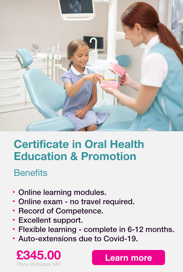 certificate oral health promotion